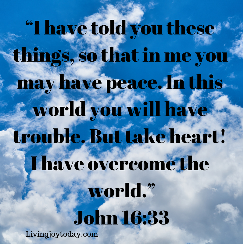 """""""i have told you these things, so that in me you may have peace. in this world you will have trouble. but take heart! i have overcome the world."""" john 16_33"""